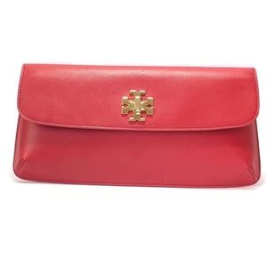 Tory Burch Kira Red Leather Small Clutch